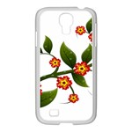 Flower Branch Nature Leaves Plant Samsung GALAXY S4 I9500/ I9505 Case (White)