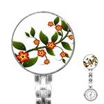 Flower Branch Nature Leaves Plant Stainless Steel Nurses Watch