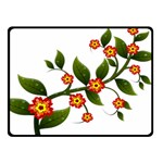 Flower Branch Nature Leaves Plant Double Sided Fleece Blanket (Small)