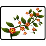 Flower Branch Nature Leaves Plant Double Sided Fleece Blanket (Large)