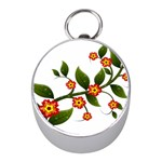 Flower Branch Nature Leaves Plant Mini Silver Compasses