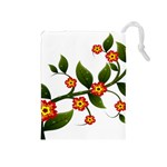 Flower Branch Nature Leaves Plant Drawstring Pouches (Medium)