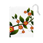 Flower Branch Nature Leaves Plant Drawstring Pouches (Large)