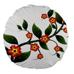 Flower Branch Nature Leaves Plant Large 18  Premium Flano Round Cushions
