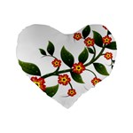 Flower Branch Nature Leaves Plant Standard 16  Premium Flano Heart Shape Cushions