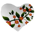 Flower Branch Nature Leaves Plant Large 19  Premium Flano Heart Shape Cushions