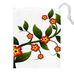 Flower Branch Nature Leaves Plant Drawstring Pouches (XXL)