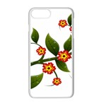 Flower Branch Nature Leaves Plant Apple iPhone 7 Plus Seamless Case (White)
