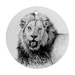 Lion Wildlife Art And Illustration Pencil Ornament (Round)