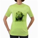 Lion Wildlife Art And Illustration Pencil Women s Green T-Shirt