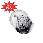 Lion Wildlife Art And Illustration Pencil 1.75  Buttons (100 pack)