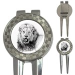 Lion Wildlife Art And Illustration Pencil 3-in-1 Golf Divots
