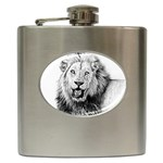 Lion Wildlife Art And Illustration Pencil Hip Flask (6 oz)