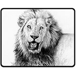 Lion Wildlife Art And Illustration Pencil Double Sided Fleece Blanket (Medium)