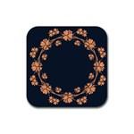 Floral Vintage Royal Frame Pattern Rubber Square Coaster (4 pack)