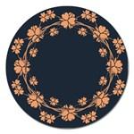 Floral Vintage Royal Frame Pattern Magnet 5  (Round)