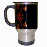 Floral Vintage Royal Frame Pattern Travel Mug (Silver Gray)