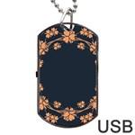 Floral Vintage Royal Frame Pattern Dog Tag USB Flash (Two Sides)
