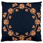 Floral Vintage Royal Frame Pattern Large Flano Cushion Case (One Side)
