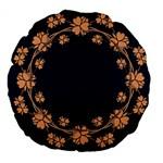 Floral Vintage Royal Frame Pattern Large 18  Premium Flano Round Cushions