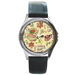 Colored Afternoon Tea Pattern Round Metal Watch