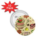 Colored Afternoon Tea Pattern 1.75  Buttons (10 pack)