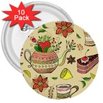 Colored Afternoon Tea Pattern 3  Buttons (10 pack)