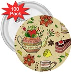Colored Afternoon Tea Pattern 3  Buttons (100 pack)