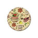 Colored Afternoon Tea Pattern Rubber Coaster (Round)