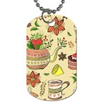 Colored Afternoon Tea Pattern Dog Tag (One Side)