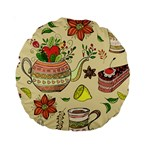 Colored Afternoon Tea Pattern Standard 15  Premium Round Cushions