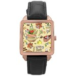 Colored Afternoon Tea Pattern Rose Gold Leather Watch