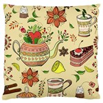 Colored Afternoon Tea Pattern Standard Flano Cushion Case (Two Sides)