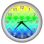 art deco rain bow Wall Clocks (Silver)