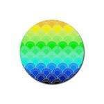 art deco rain bow Rubber Coaster (Round)