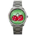 DICE Las Vegas Craps Poker Chips Card Sport Metal Watch