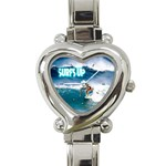 SURFING Surfer Surfboard Sports Boys Heart Charm Watch