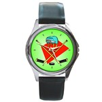 HOCKEY Ice Skate Puck Sports Girls TV  Round Metal Watch