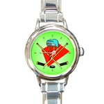 HOCKEY Ice Skate Puck Sports Girls TV  Round Charm Watch