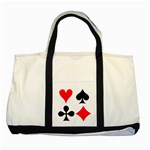 POKER Playing Card Handbag Funny Game Two Tone Canvas Tote Bag