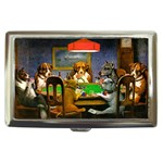 TEXAS HOLDEM POKER Sign Dogs Playing Casino Cigarette Money Case Box