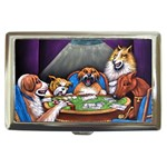 TEXAS HOLDEM POKER Dogs Playing Casino Cigarette Money Case Box