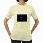 Orange Black Amoeba Fractal on Blue Women s Yellow T-Shirt