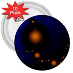 Orange Black Amoeba Fractal on Blue 3  Button (10 pack)