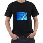 Shades of Blue Spider Tendrils Fractal Black T-Shirt