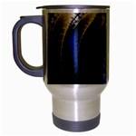 Blue Spin into Dizziness Fantasy Fractal Travel Mug (Silver Gray)