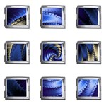 Blue Spin into Dizziness Fantasy Fractal Mega Link Italian Charm (9 pack)