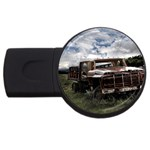 Apocalyptic Pickup Truck in Field USB Flash Drive Round (1 GB)