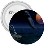 Goth Moonbathing Skull and Dolphin 3  Button