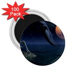Goth Moonbathing Skull and Dolphin 2.25  Magnet (100 pack)